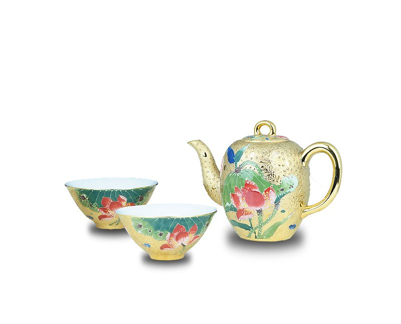 2.1手繪荷花鎏金茶壺杯組