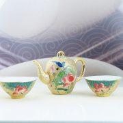 2.2手繪荷花鎏金茶壺杯組